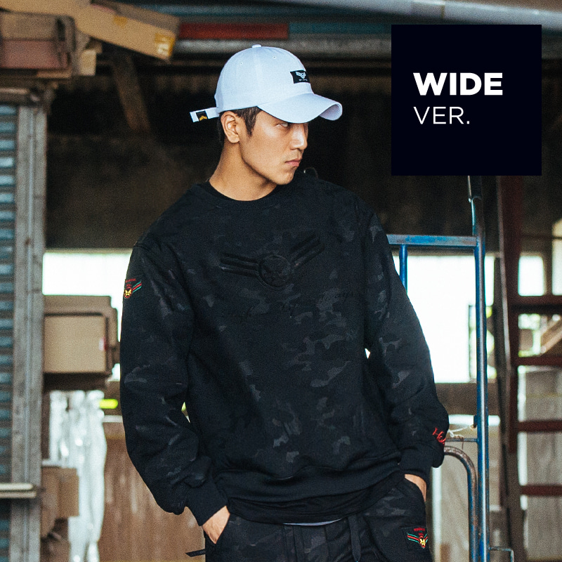 WATER REPELLENT CREWNECK BLACK (Wide ver.)