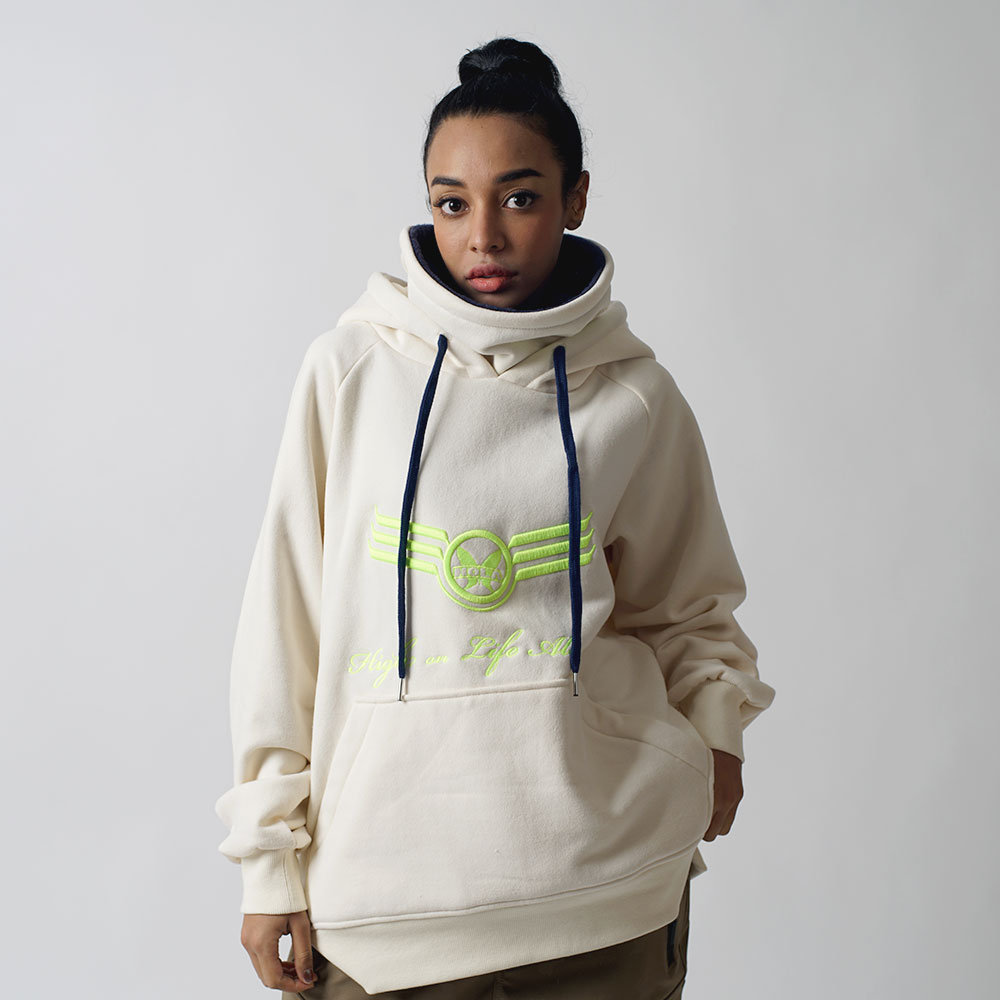 1920 BIG LOGO WARMER HOODY - CREAM